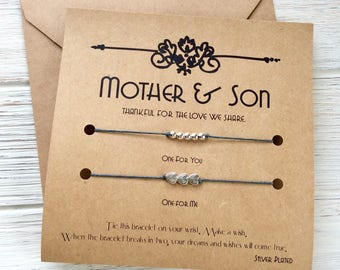 Mother And Son Gifts Birthday Gift For Mom Wish Bracelet Matching MS