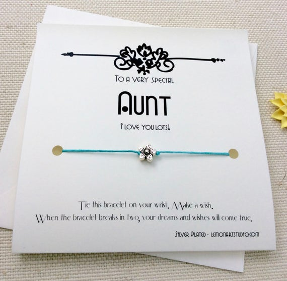 Aunt Gift From Niece Birthday For Christmas Card Bracelet Wish