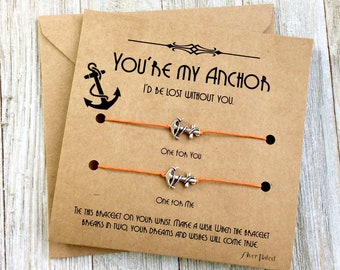 Anchor Bracelet Matching Bracelets Cute Gift For Best Friend Bracelet For 2 His And Hers Jewelry Couples