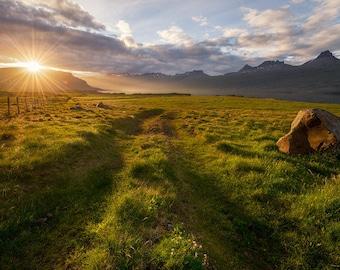 tall grass field sunset. Field, Iceland, Vik, Fence, Sunset, Mountains, Cloudy, Ring Road, Ocean, River, Tall Grass, Print, Canvas Landscape Photography Grass Field Sunset