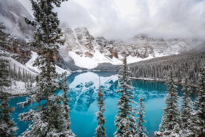 Moraine Lake Mountain Landscape Photography Tree Metallic Metal Canvas Acrylic Print Wall Art Snow Fall Banff National Park Canada