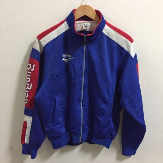 5e58a5b60428f Vintage Runbird X Mizuno Track Top Jacket Pull Over Size L Colour Block  Blue jacket