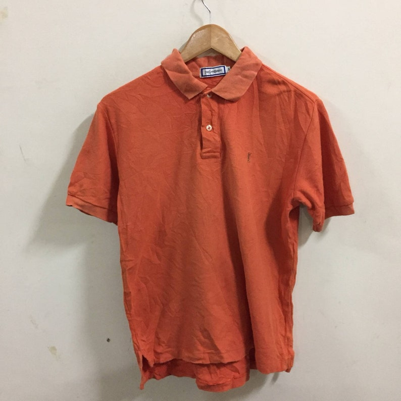 211ff2e8 YSL Yves Saint Laurent Polo Shirt Size M Orange   Etsy