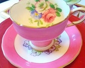 Double Warranted Pink Paragon Tea Cup, Pink Paragon Tea Cup, Victoria C E, Pink China Tea Cup, Pink English China Cup