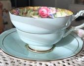 Double Warranted Paragon Tea Cup, Blue Paragon Tea Cup, Paragon Tapestry Rose Tea Cup, Pale Blue China Tea Cup