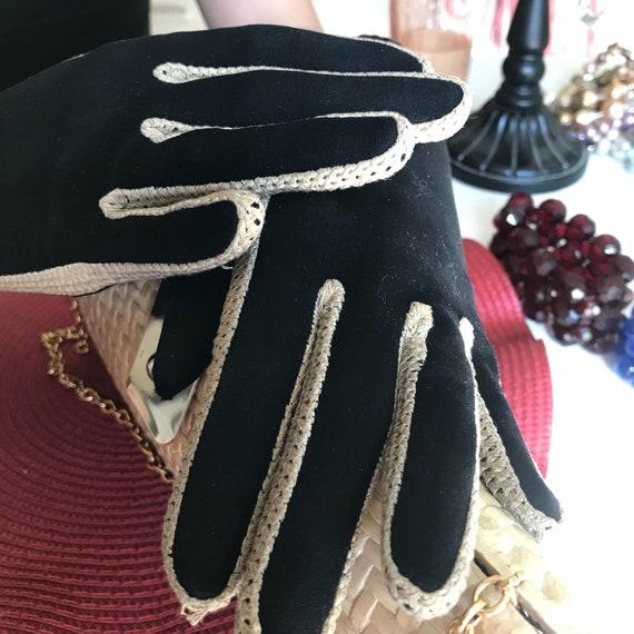 Black Evening Gloves, Leather Suede Glove, Black … - image 8