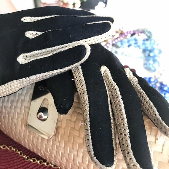 Black Evening Gloves, Leather Suede Glove, Black … - image 1