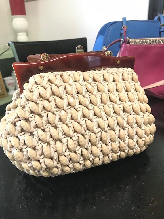 Mantesa Vintage Handbag, Made In Italy Nude Purse,
