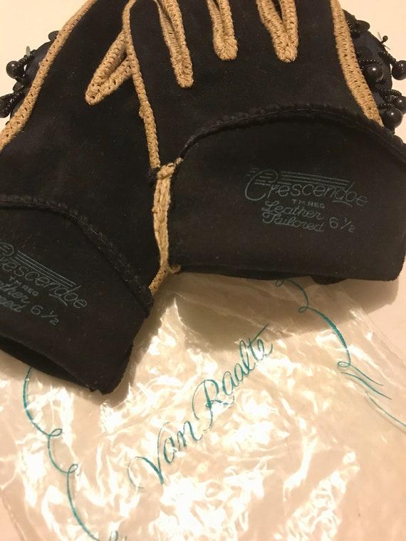 Black Evening Gloves, Leather Suede Glove, Black … - image 7