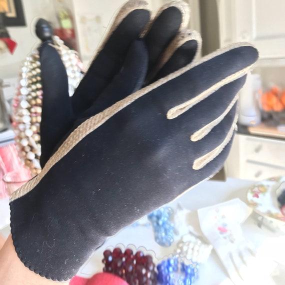 Black Evening Gloves, Leather Suede Glove, Black … - image 4