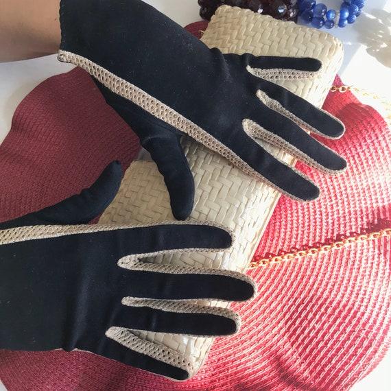 Black Evening Gloves, Leather Suede Glove, Black … - image 5