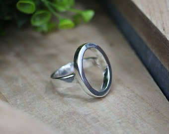 HARLEY Ring - Sterling Silver Open Oval Ring - Geometric Ring - Every Day Ring