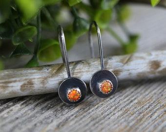 BRYLEY Earrings - 4mm Round Fire Opal Sterling Silver Dangle Earrings