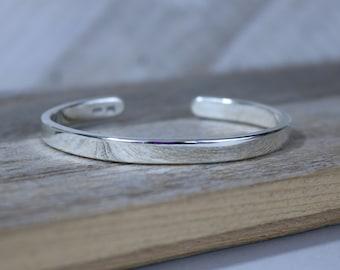 DK Bracelet - Bright Polished Sterling Silver Cuff Bracelet