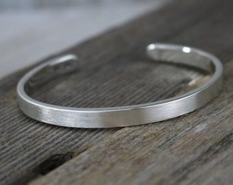 BENJAMIN Bracelet - Brushed Sterling Silver Cuff Bracelet