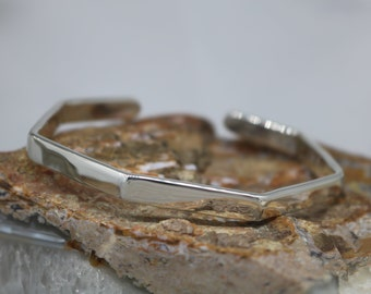 VINNIE Bracelet - Geometric Sterling Silver Cuff Bracelet, Polished