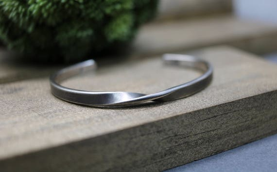 Oxidized Sterling Silver Stacking Bangle Bracelet--Rope--Simple Silver Bracelet--Handcrafted--Custom Size XXS to XXL
