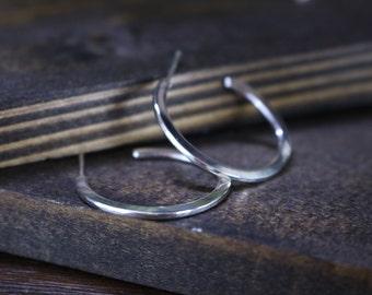 """LYNN Hoops - Sterling Silver Hammered Hoop Earrings, 1"""" (25mm) diameter"""