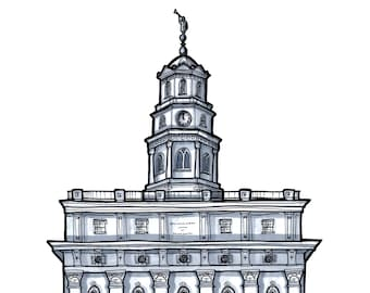 Nauvoo Temple LDS Architectural Drawing Illinois