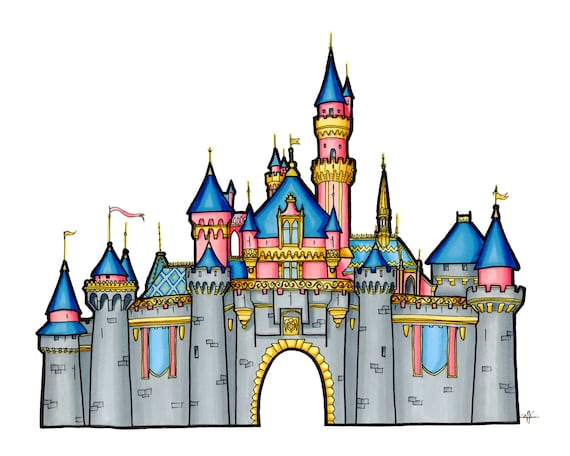 disney castle drawing sleeping beauty castle illustration etsy