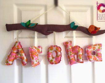 Decorative wall/door cotton name (warm colours)