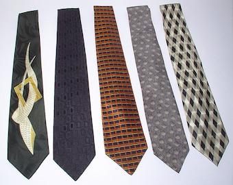 Vintage Neckties Men's Silk Lot of 5 Modules 1980's Never Worn