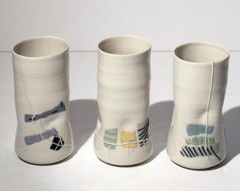 Vintage Pottery Trio Signed Hand Thrown Ceramic 80's Mint Condition Modern Minimalism