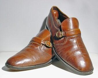 Vintage Men's Leather Shoes Monk Strap Split Face Brown Size 8 1/2 D Vintage 1960's