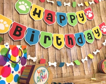 Paw Print Birthday Banner Set Dog Party Theme Puppy Name And Decorations Happy