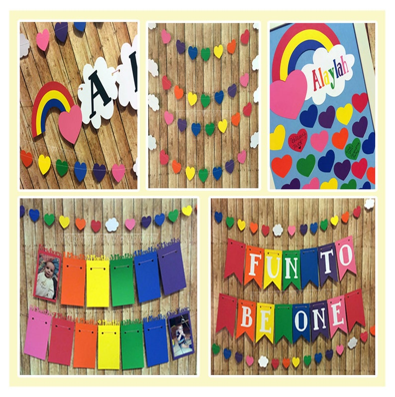 Custom Birthday Decorations Rainbow Decoration Set