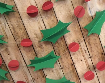 Christmas Garland Mistletoe Decoration, 3D Mistletoe Holiday Banner, Holiday Paper Garland, Berry Banner, 3D Garland