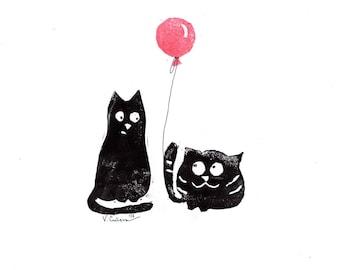 "Linocut print - ""Linocats"" :)"