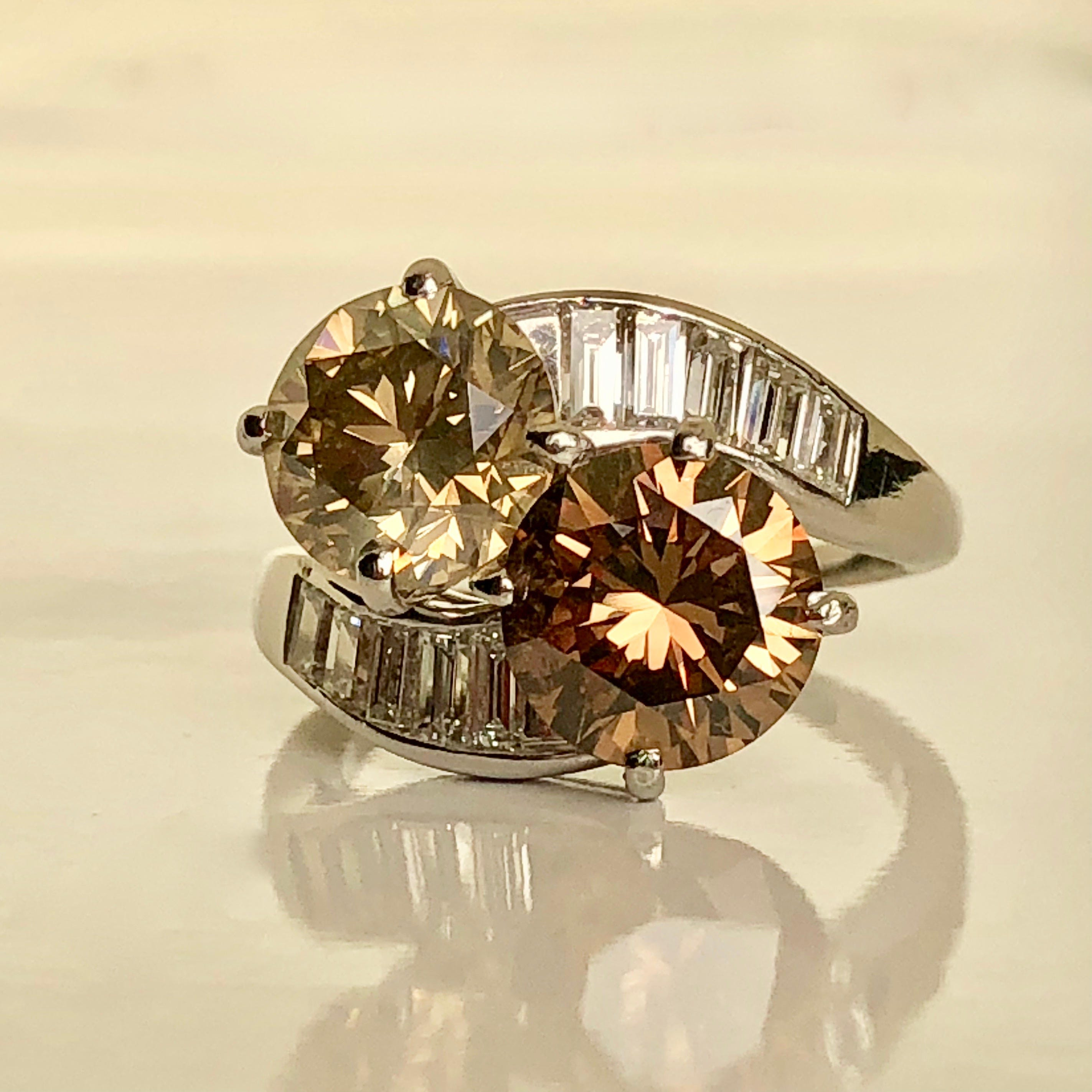 Champagne And Cognac Diamond Ring 5 50ct Tw