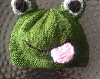 e3d05bca47b Baby Frog beanie hat handknitted optional tongue detail various sizes  available