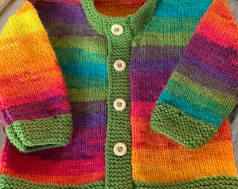 Girls baby/toddler cardigan sweater hand knitted in rainbow stripes with wooden button detail various sizes available