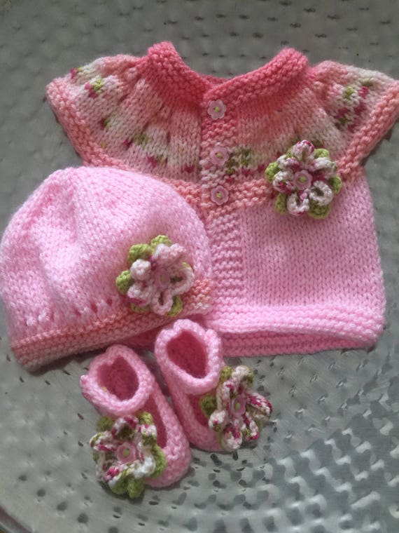 a4e13f008a5a Hand knitted baby cardigan sweater   hat set in pink
