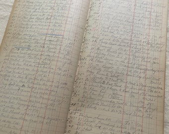 10 Pages of the Vintage Ledger From 1940s to 1960s