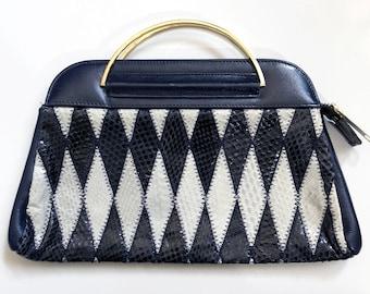 88dffb1052 Vintage EVENING BAG DIAMOND Snakeskin Leather Print Handbag 80 s 1980 Snake  Evening Event Purse Handbag Diamond Clutch