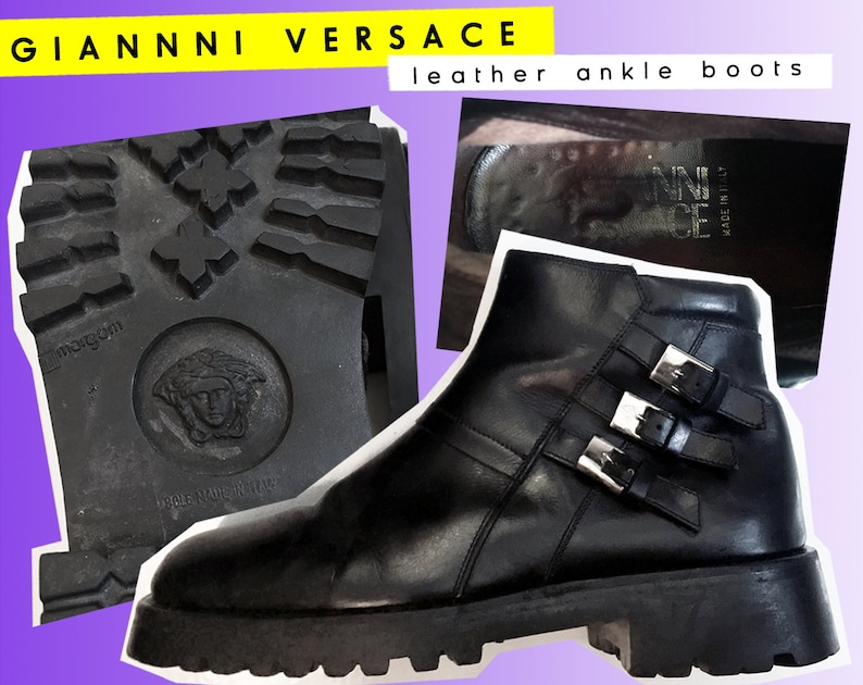 8b5e30bce6558 Vintage GIANNI VERSACE Medusa Leather Boots 1993 Buckles Tread Combat Moto  Motorcycle 90's Authentic Stamped Silver