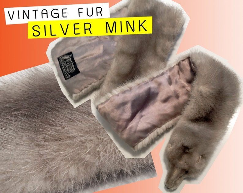 92bc43a66e6d2 VINTAGE MINK STOLE - Silver Fur Scarf Grey Gray Wrap Canadian 100% Real Fur  Authentic Luxurious Wedding Accessory Event Style Vtg