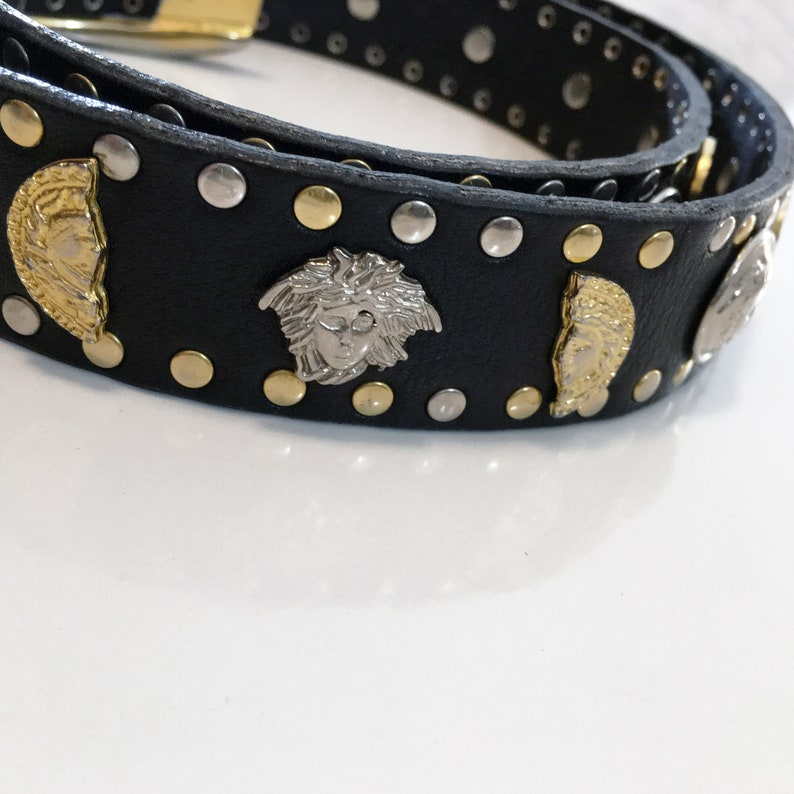 1447fd29c5dff Rare Vintage GIANNI VERSACE Medusa Belt 1993 Leather Buckle Head Coin  Grommet Studs Studded 90's Authentic Stamped Gold Silver