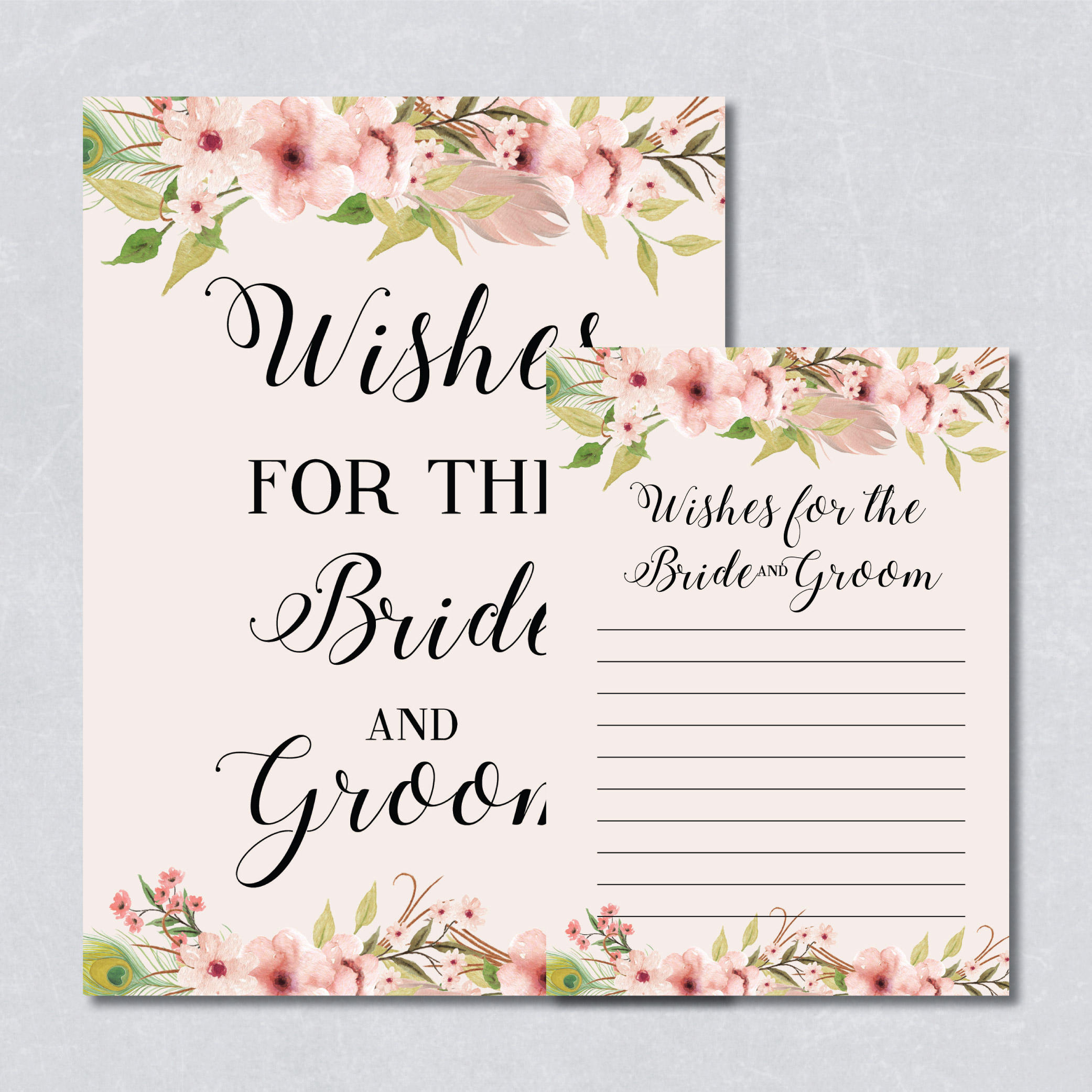wishes for the bride and groom card floral bridal shower