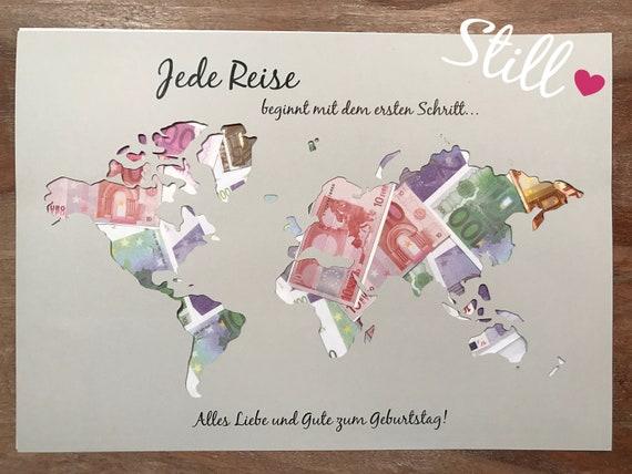 Geldgeschenk Weltkarte Jede Reise Geburtstag Etsy