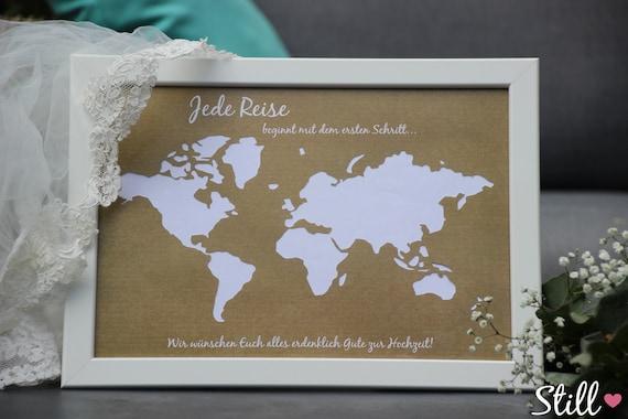 Geldgeschenk Weltkarte Vintage zur Hochzeit   Etsy