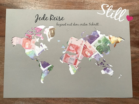 Geldgeschenk Weltkarte Jede Reise Beginnt Etsy