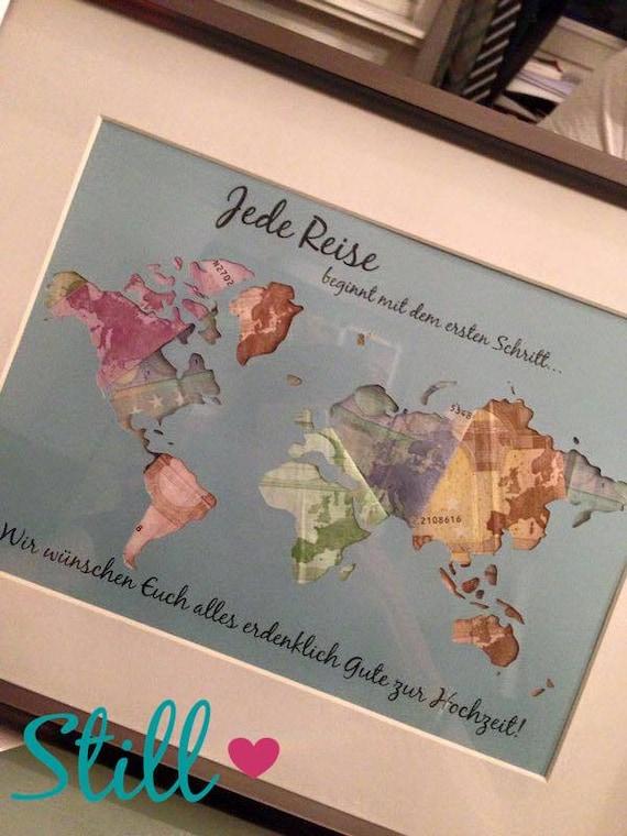 Geldgeschenk Hochzeit Weltkarte Etsy