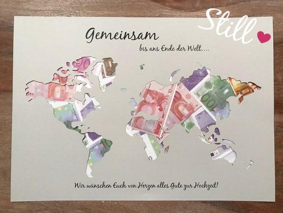 Geldgeschenk Weltkarte Gemeinsam Von Herzen Etsy