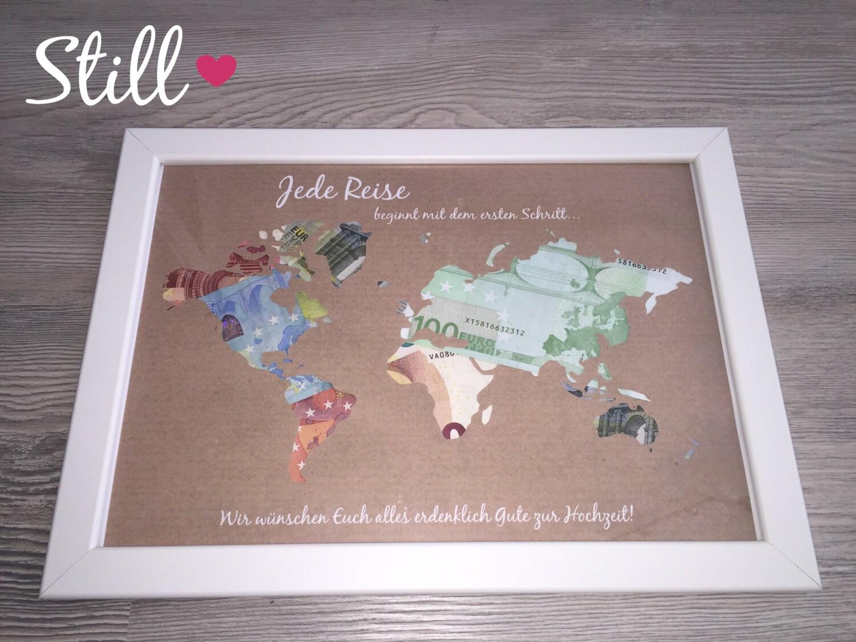Geldgeschenk Weltkarte Vintage mit Rahmen zur Hochzeit