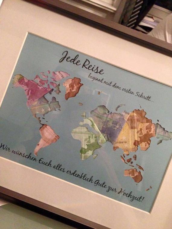 Individuelle Geschenkidee Weltkarte Geldgeschenk Zur Etsy