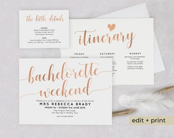 rose gold bachelorette invitations bachelorette weekend itinerary template girls weekend party invitations download templett invites